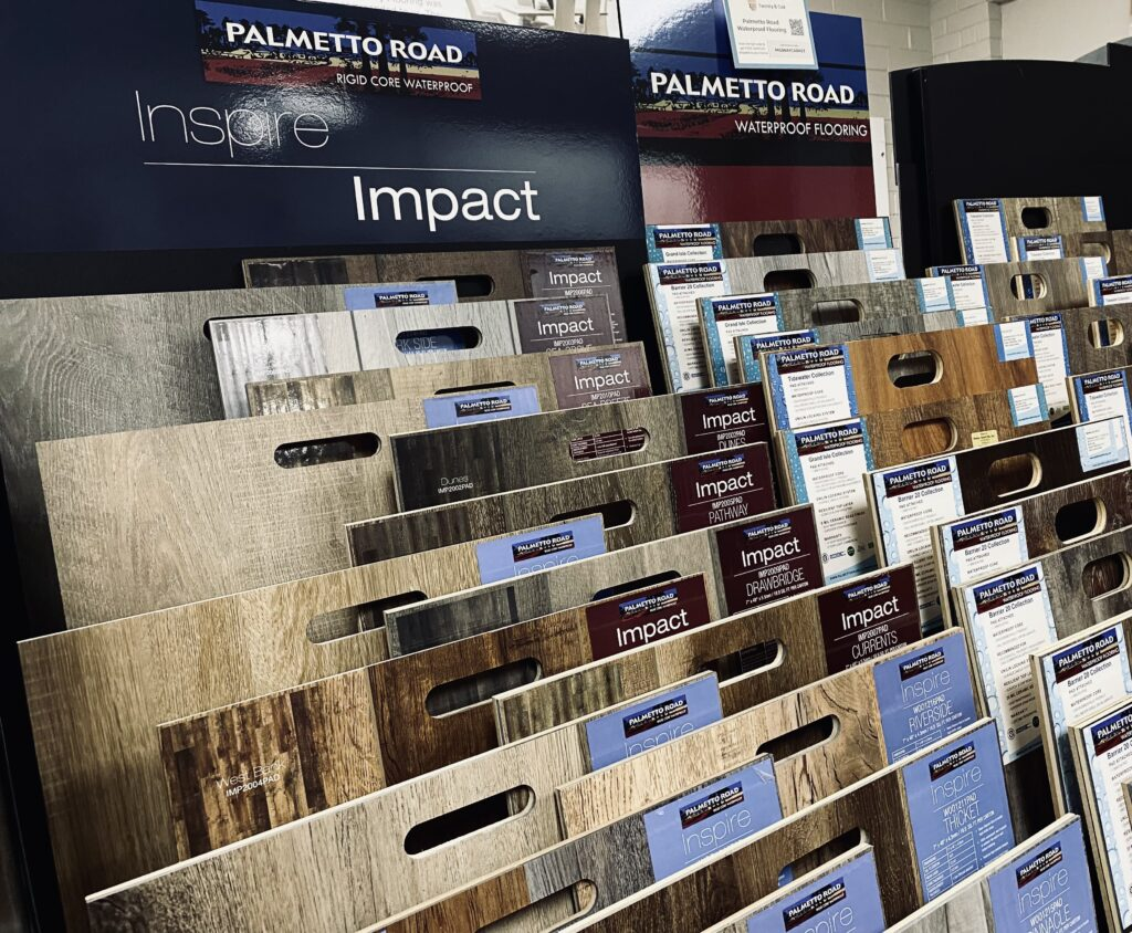 Variety of flooring products in showroom   Midway Carpet Distributors